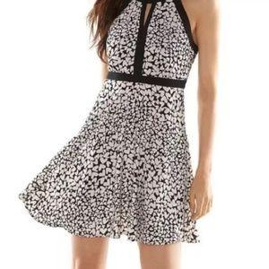 Elle black white halter heart pattern dress size 8